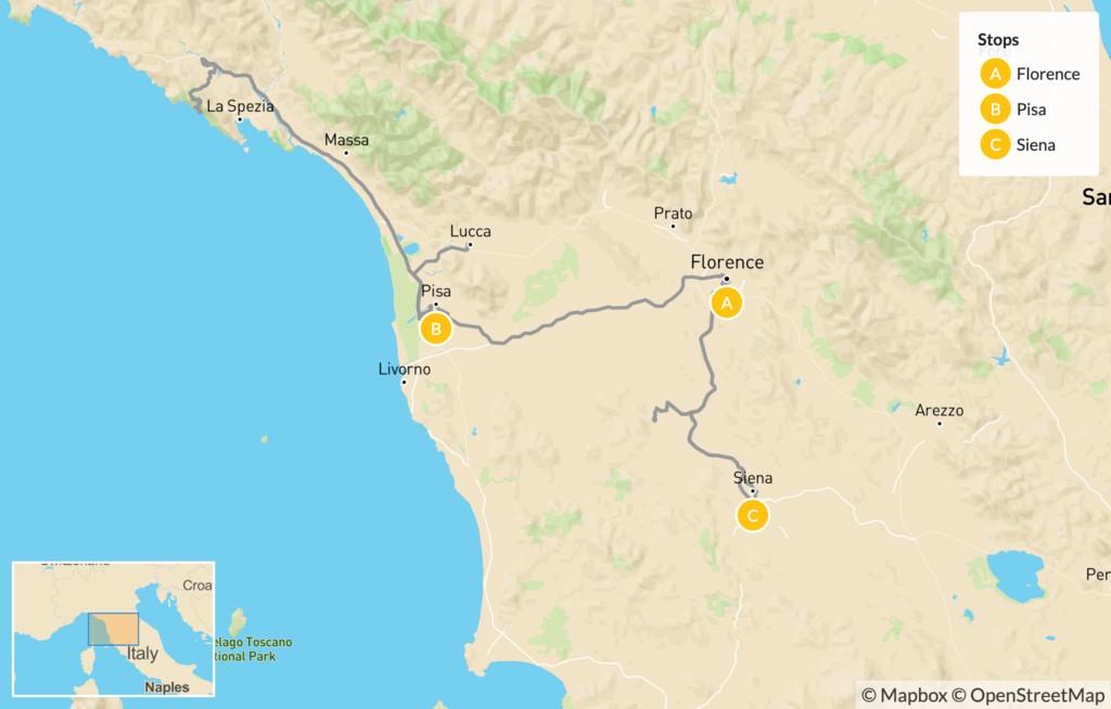 Map of Tuscany Self-Drive Tour - 7 Days