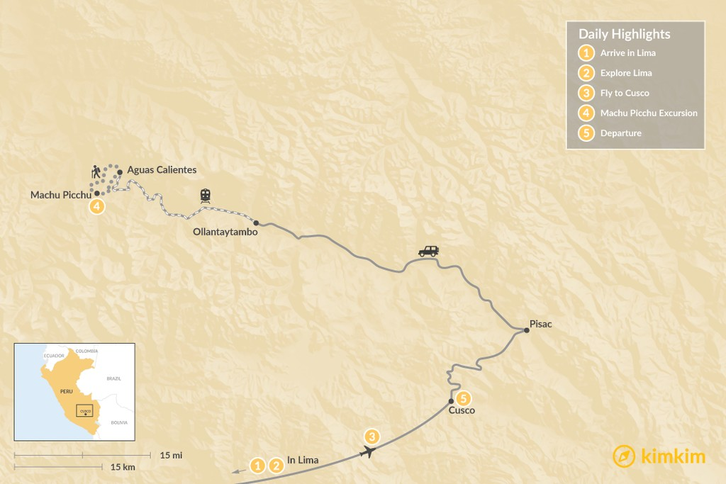 Map of Lima & Sacred Valley Adventure - 5 Days