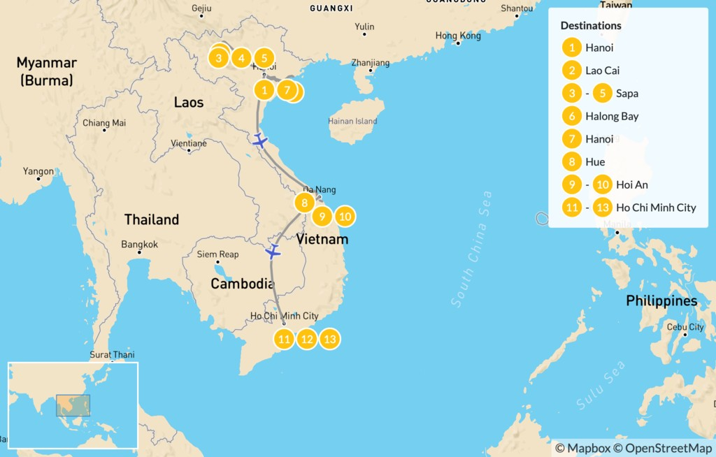 Map of Family Adventure in Vietnam: North to South - 14 Days