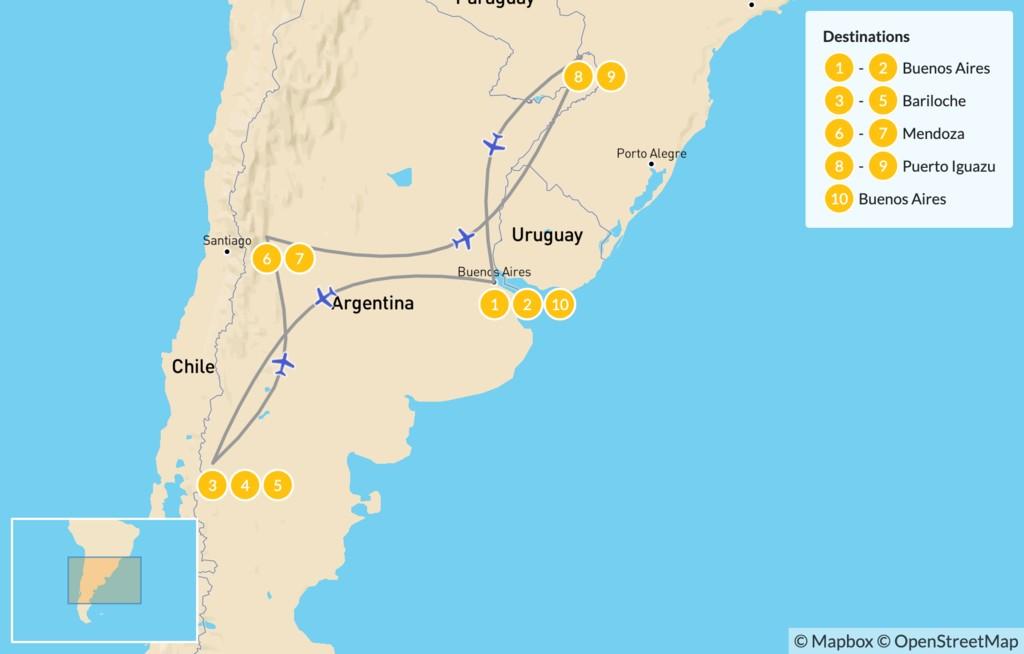 Map of Classic Argentina: Patagonia, Mendoza, & Iguazú - 11 Days