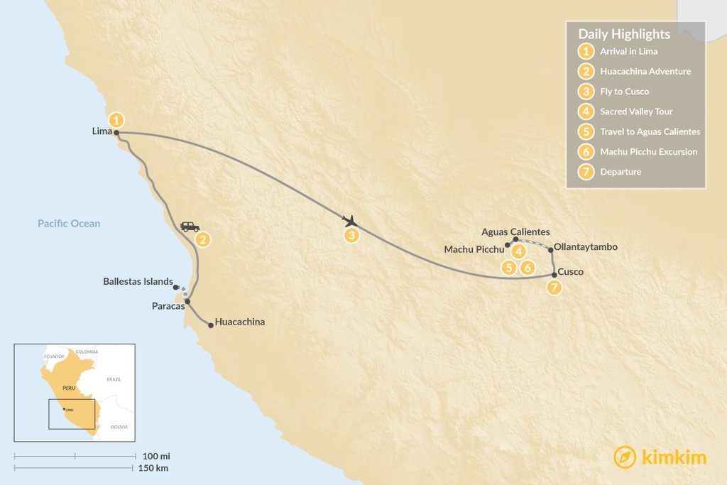 Map of Peru's Cities, History, & Ecotourism - 7 Days