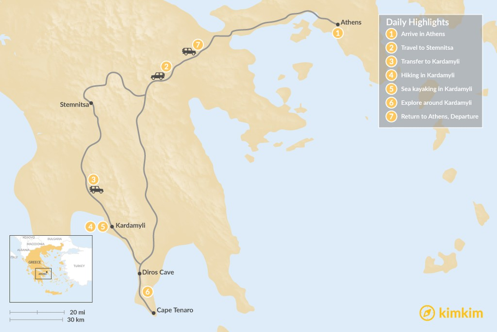 Map of Mythical Peloponnese Adventure - 7 Days