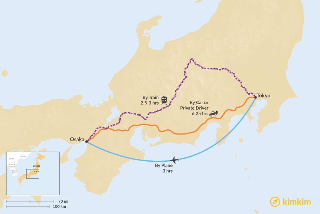 Map of How to Get from Tokyo to Osaka