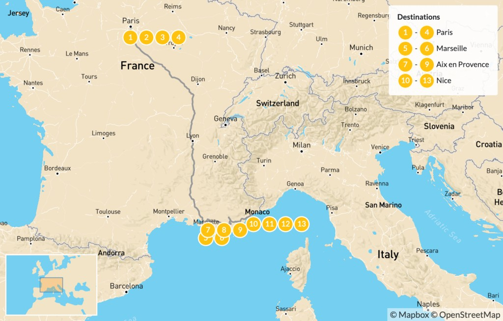 Map of Luxury, Art, & Food in France: Paris, Provence, & the French Riviera - 14 Days