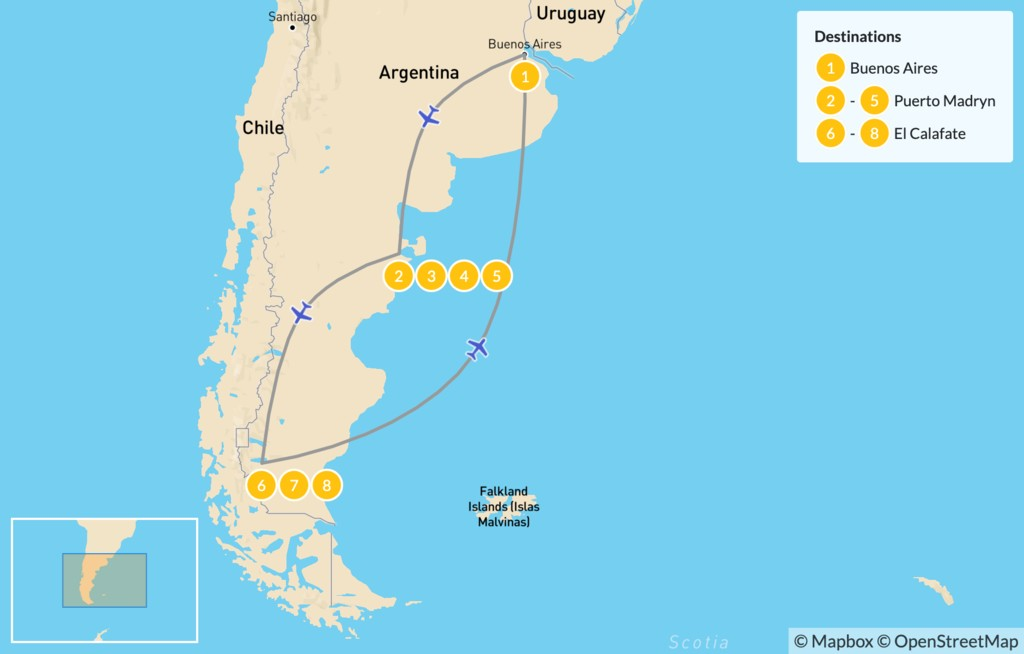 Map of Argentine Wildlife & Glaciers Adventure - 9 Days