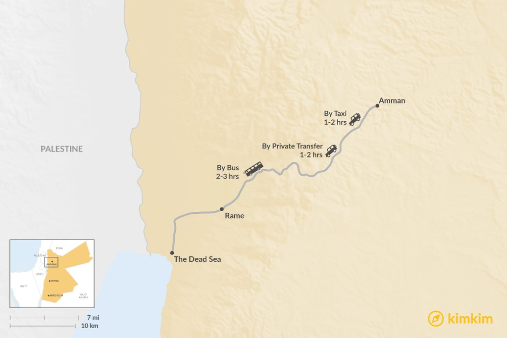 Map of How to Get from Amman to The Dead Sea