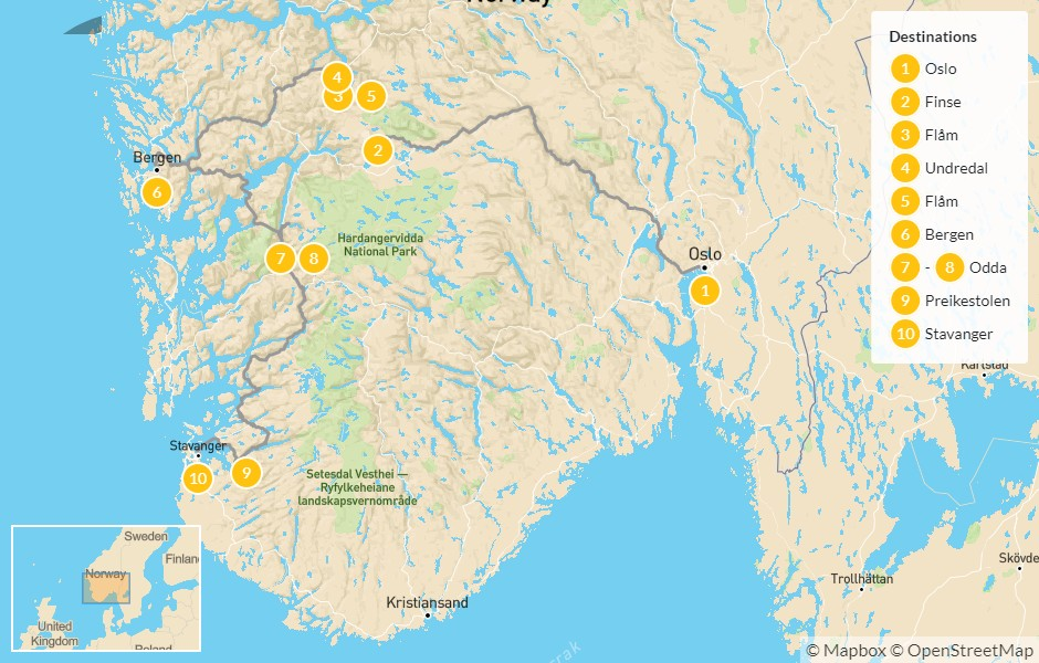 Map of Highlights of the Norwegian Fjords - 11 Days