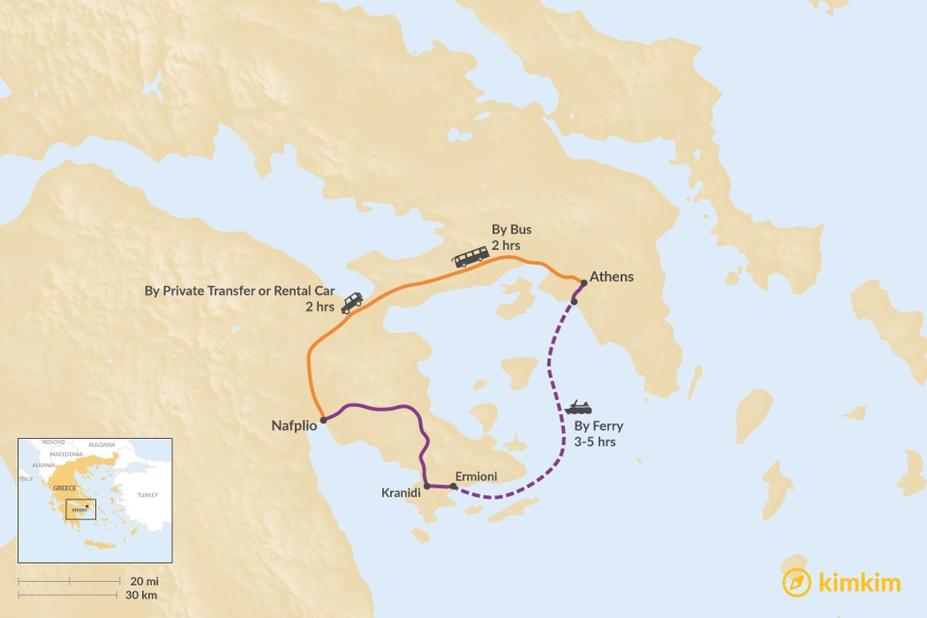 Map of How to Get from Athens to Nafplio