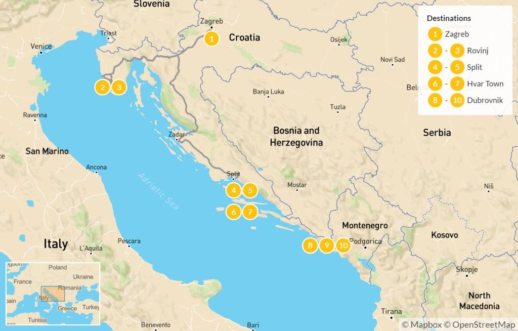 Map of Croatia Family Vacation: Zagreb, Rovinj, Split, Hvar, & Dubrovnik - 10 Days