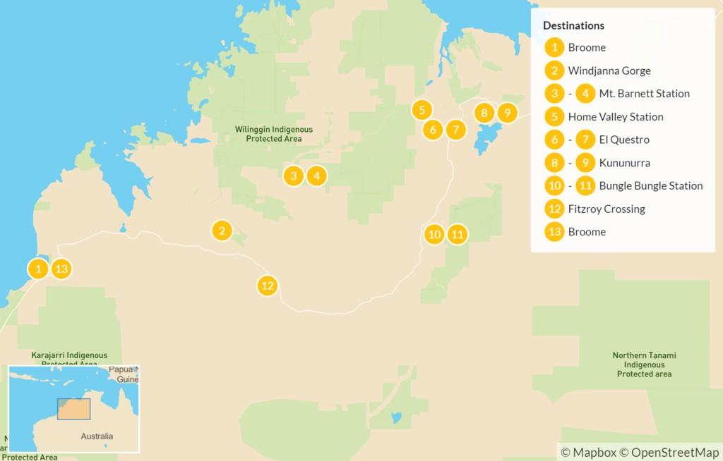 Map of Kimberley Safari in Remote Northwestern Australia - 14 Days