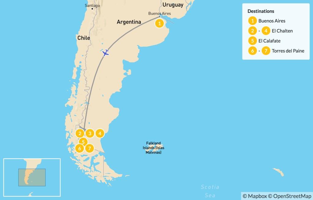 Map of Los Glaciares & Torres del Paine - 8 Days