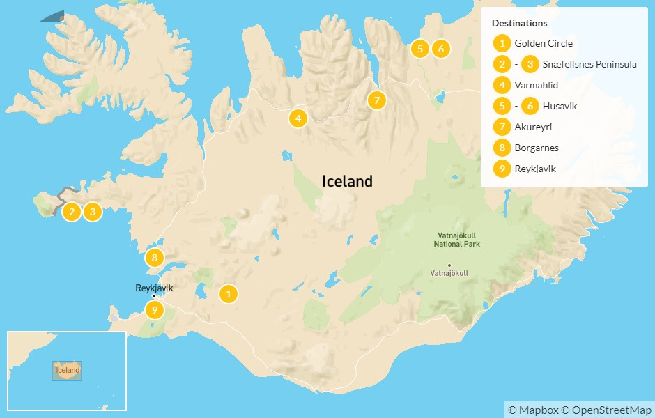 Map of Iceland From West to North: Golden Circle, Snæfellsnes Peninsula, Husavik, Akureyri, & More - 10 Days