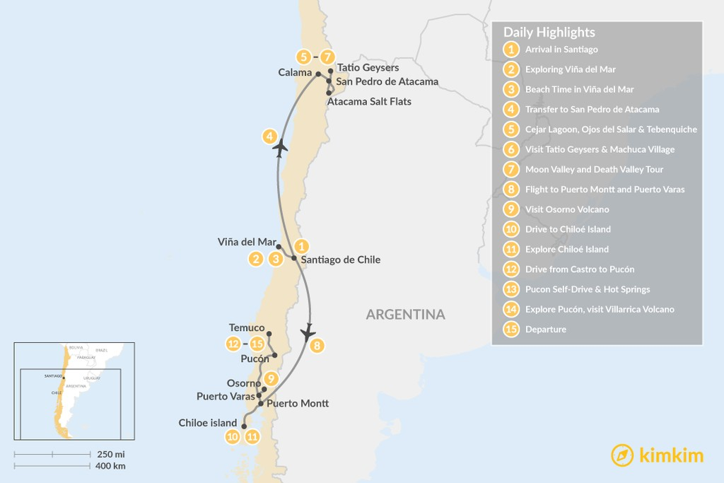 Map of Chile Grand Tour - Deserts, Lakes, & Beaches - 15 Days