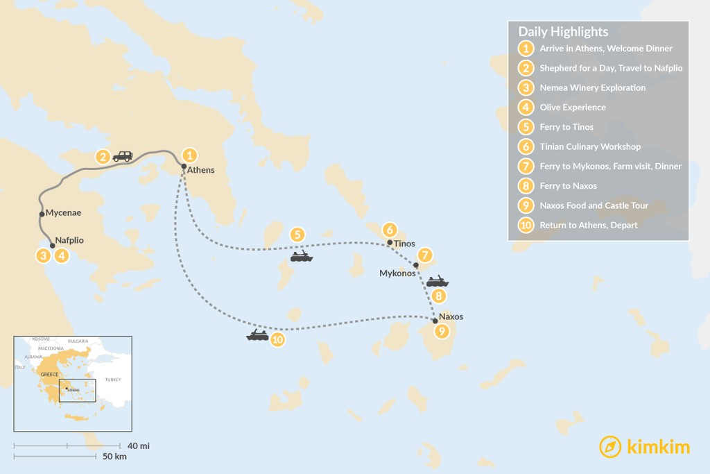 Map of Cyclades & Peloponnese Culinary Heritage - 10 Days