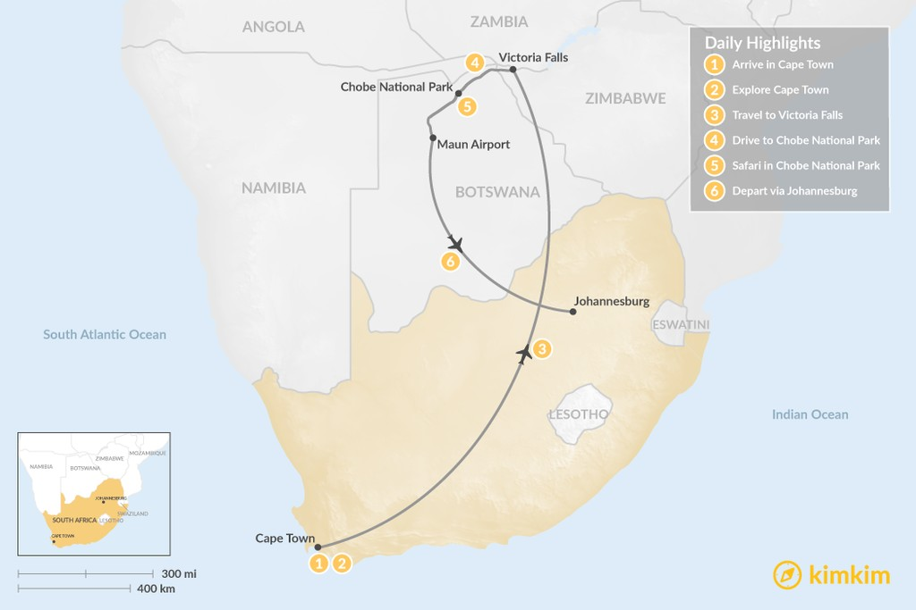 Map of Southern Africa Safari: Cape Town, Victoria Falls, & Chobe National Park - 6 Days