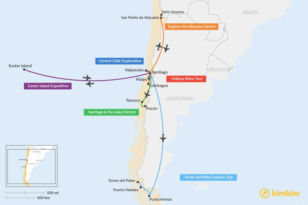 Map of 5 Days in Chile - 6 Unique Itinerary Ideas
