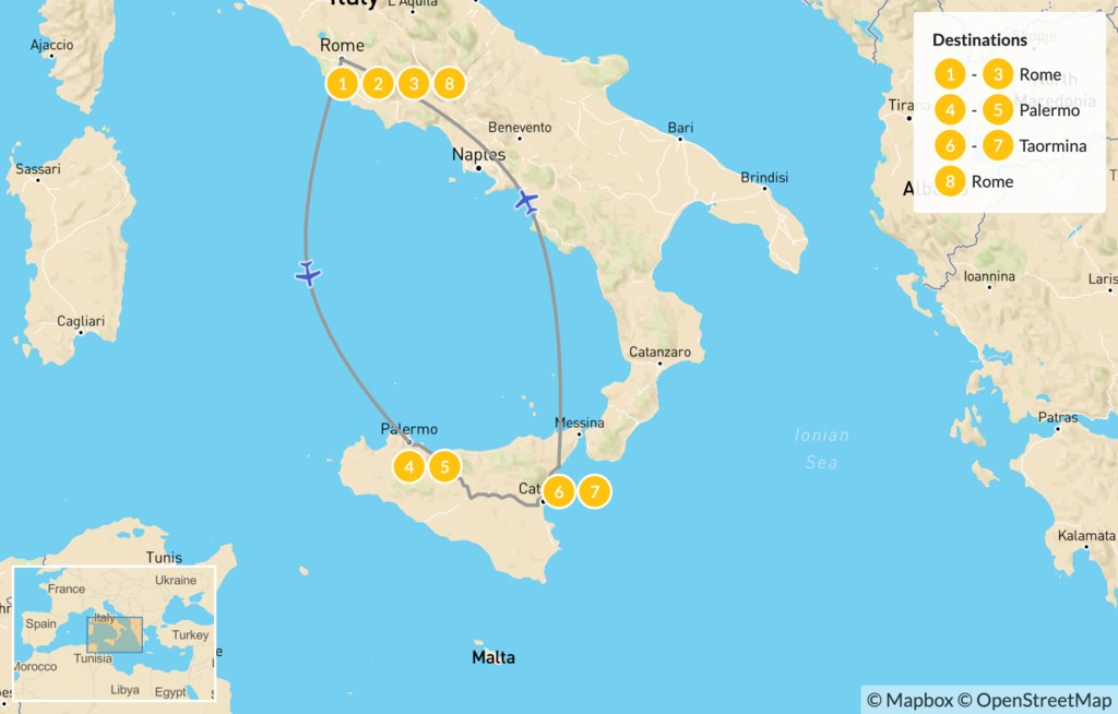 Map of Rome & Sicily Highlights - 9 Days