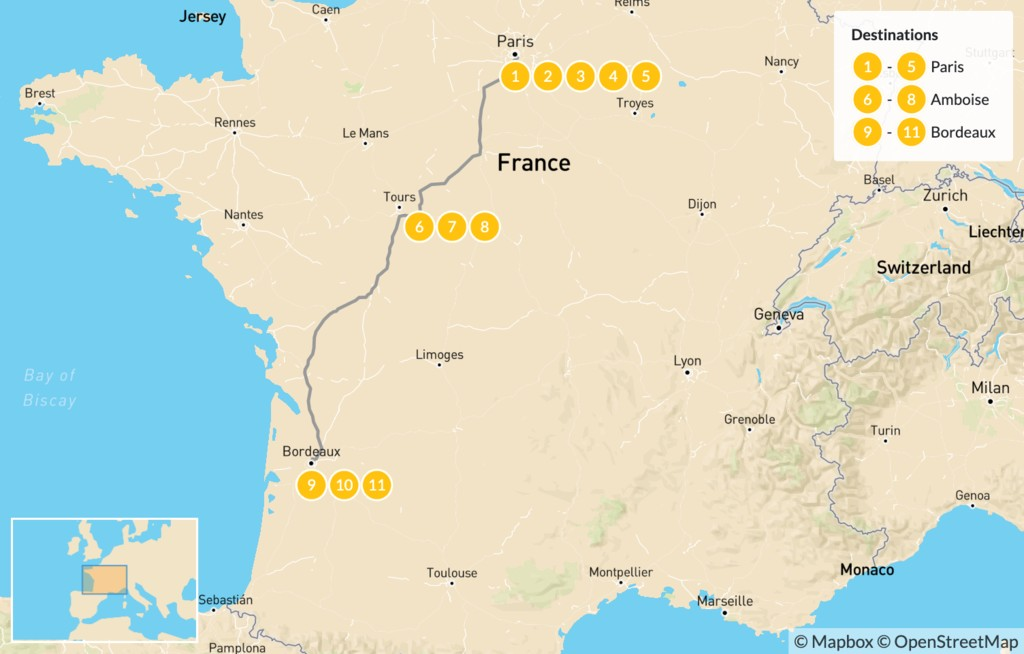 Map of Luxury Food and Wine Tour: Paris, Loire Valley, & Bordeaux - 12 Days
