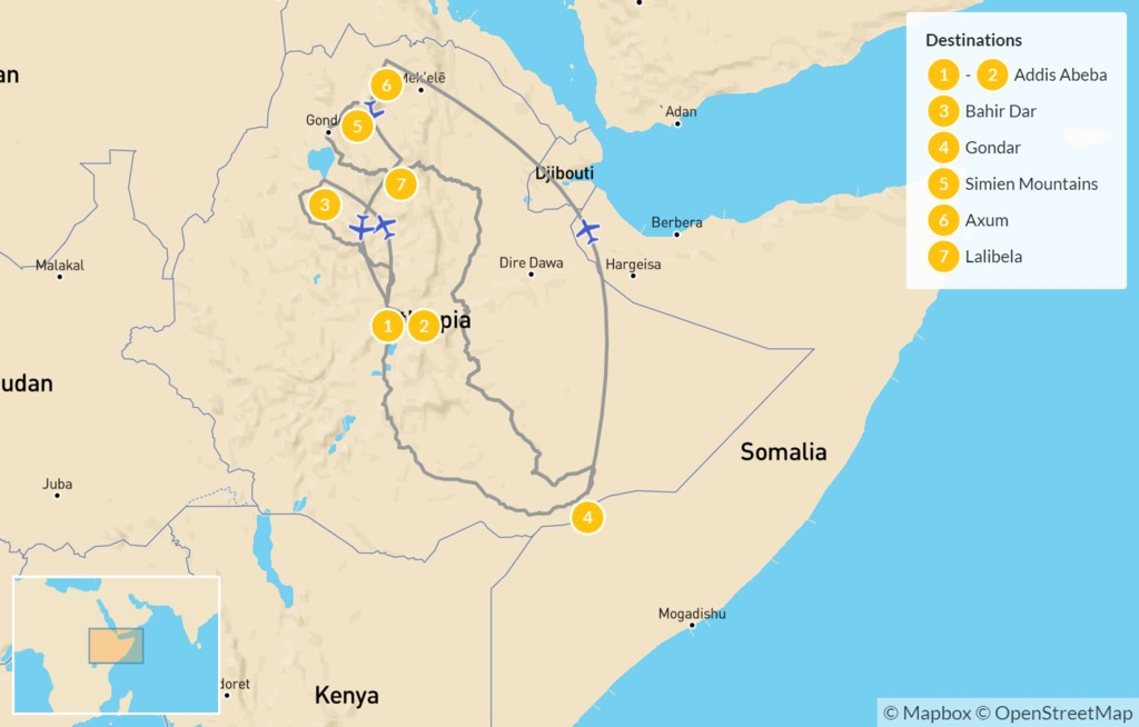 Map of Best of Ethiopia - 8 Days
