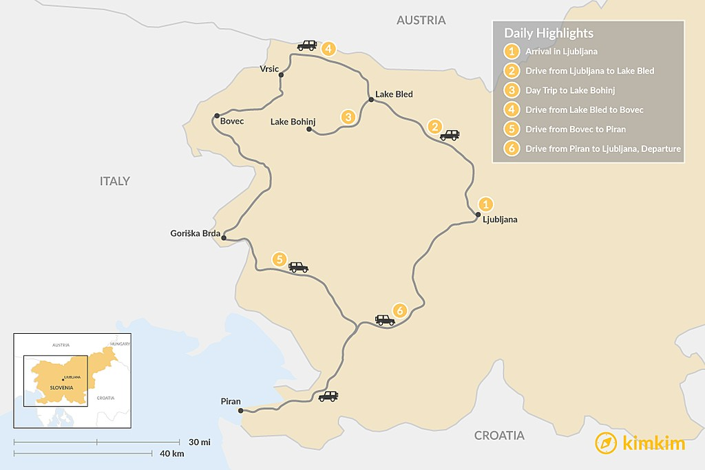 Map of Self-Drive Highlights of Slovenia - 6 Days