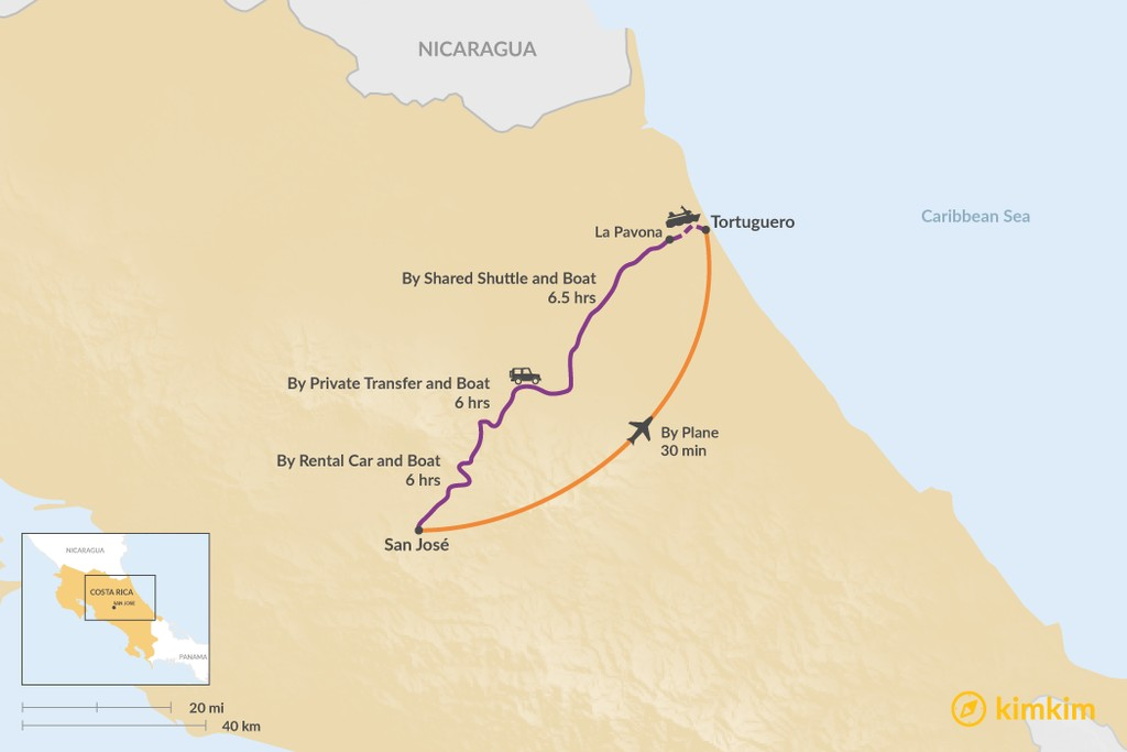Map of How to Get from San José to Tortuguero National Park