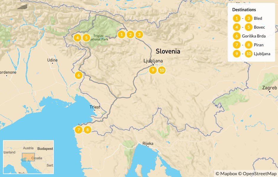 Map of Self-Driving Highlights of Slovenia: Lake Bled, the Soča Valley & the Istrian Countryside - 11 Days