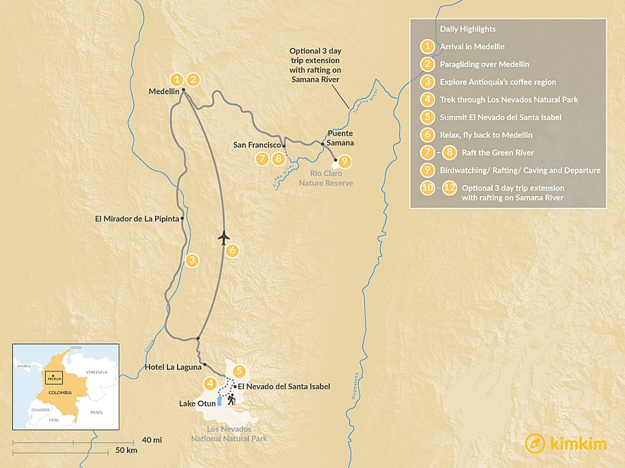 Map of Colombian Adventure: Summit to River - 9 Days