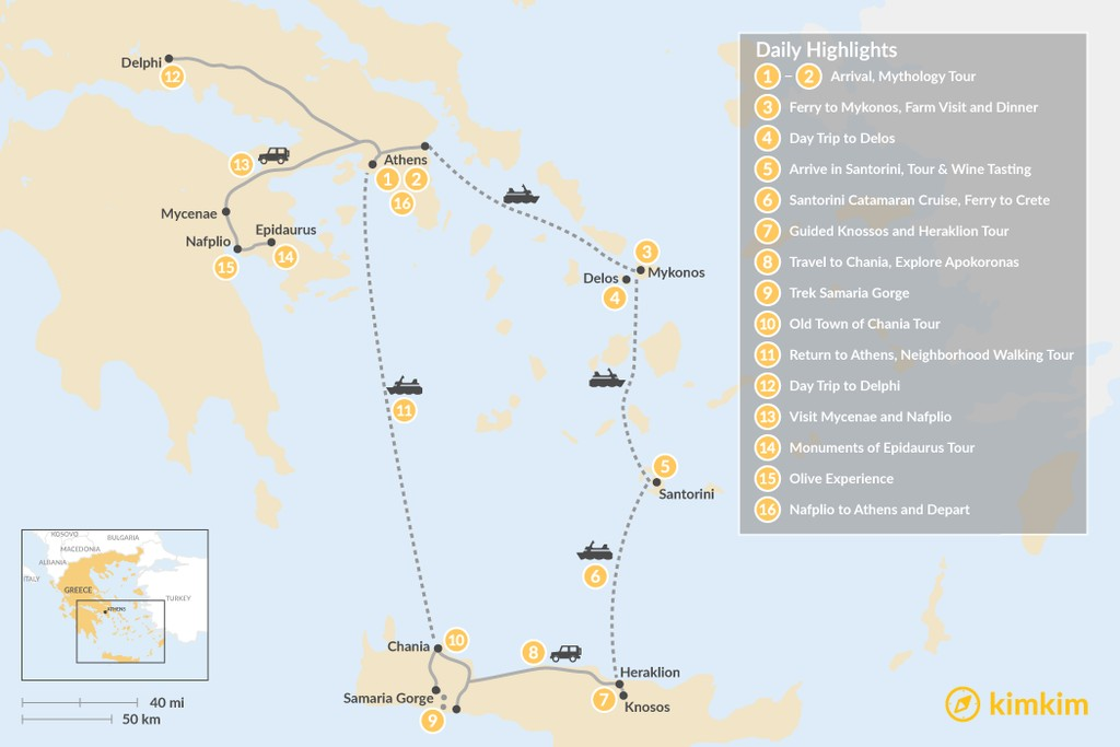 Map of Greek Panorama: Cyclades, Crete, and the Mainland - 16 Days