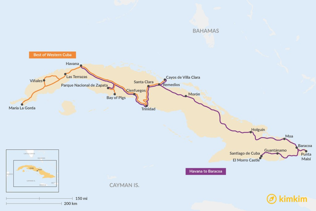 Map of 2 Weeks in Cuba - 2 Unique Itinerary Ideas