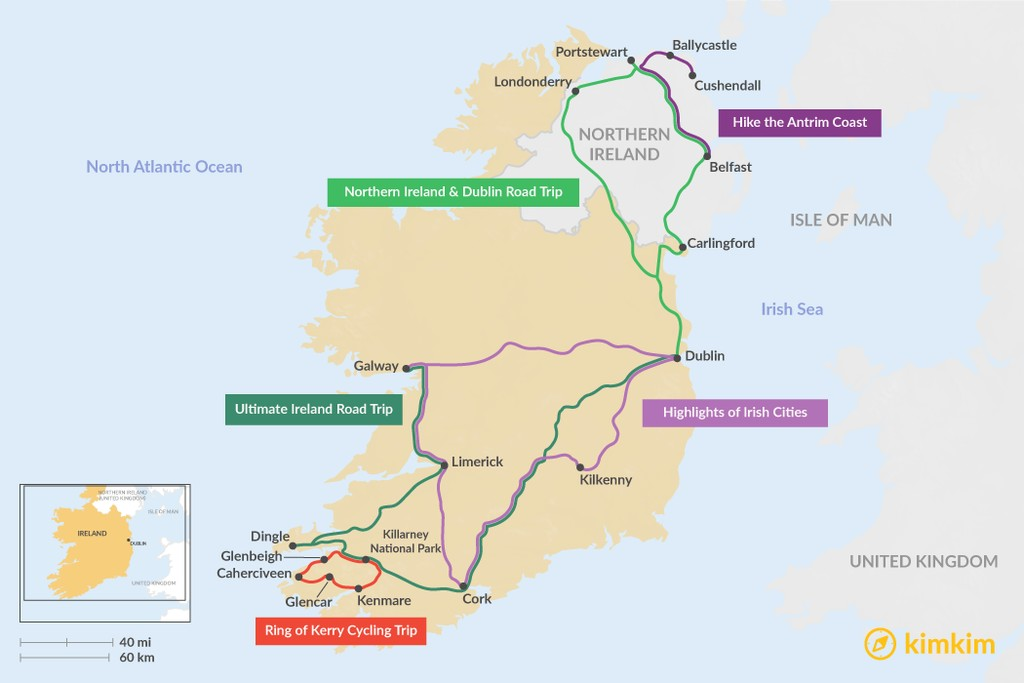 Map of 7 Days in Ireland - 5 Unique Itinerary Ideas