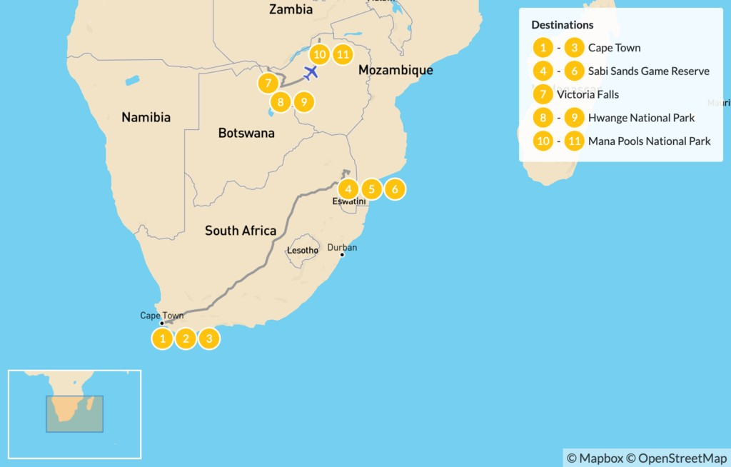 Map of South Africa and Zimbabwe Safari: Cape Town, Victoria Falls, Hwange National Park, Mana Pools National Park, & More - 12 Days