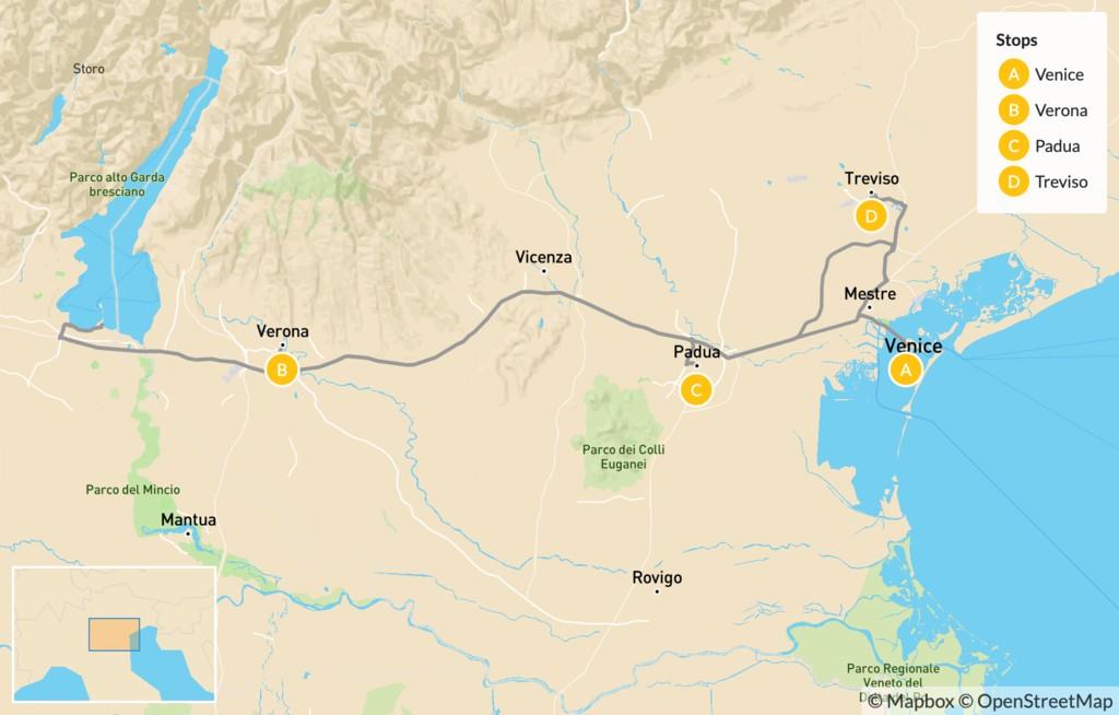 Map of Food & Wine in Verona, Padua & Treviso - 9 Days