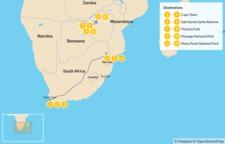 Map thumbnail of South Africa and Zimbabwe Safari: Cape Town, Victoria Falls, Hwange National Park, Mana Pools National Park, & More - 13 Days