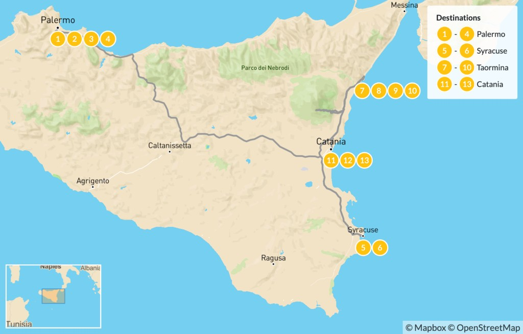 Map of Best of Sicily: Palermo, Syracuse, Taormina, & Catania - 14 Days