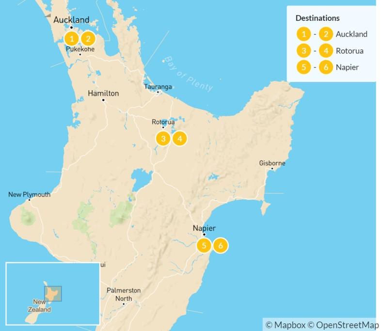 Map of New Zealand: Auckland, Rotorua, & Napier - 7 Days