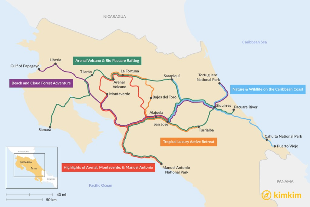 Map of 9 Days in Costa Rica - 5 Unique Itinerary Ideas