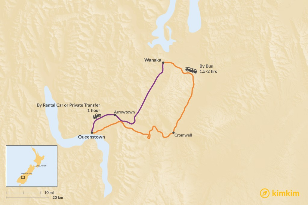 Map of How to Get from Queenstown to Wanaka