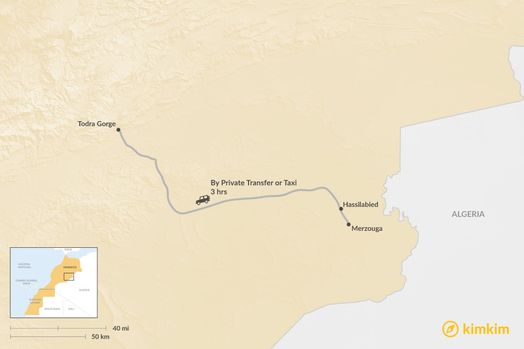 Map of How to Get from Merzouga to Todra Gorge
