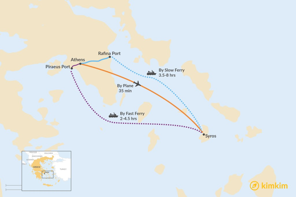 Map of How to Get from Athens to Syros