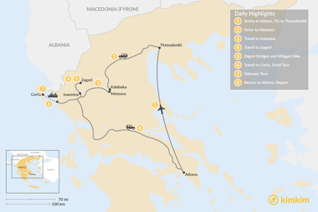 Map of Enchanting Northern Greece and Corfu - 8 Days
