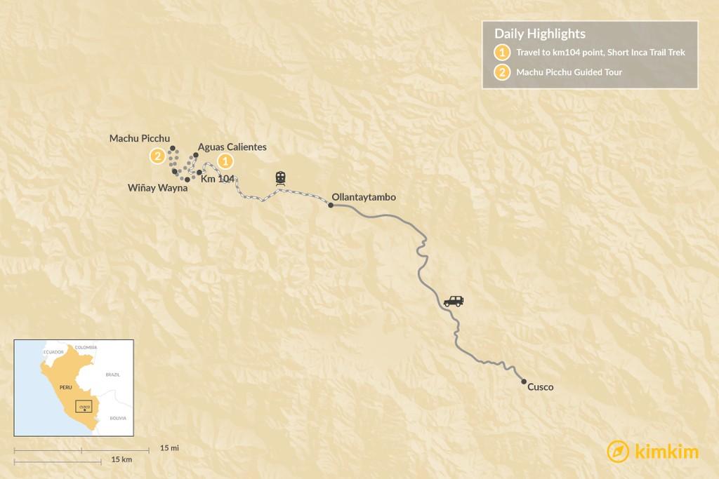 Map of Short Inca Trail to Machu Picchu - 2 Days