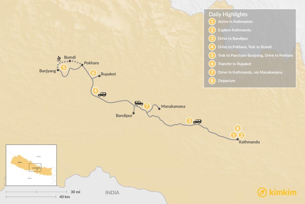 Map of Kathmandu & Pokhara Valleys - 8 Days