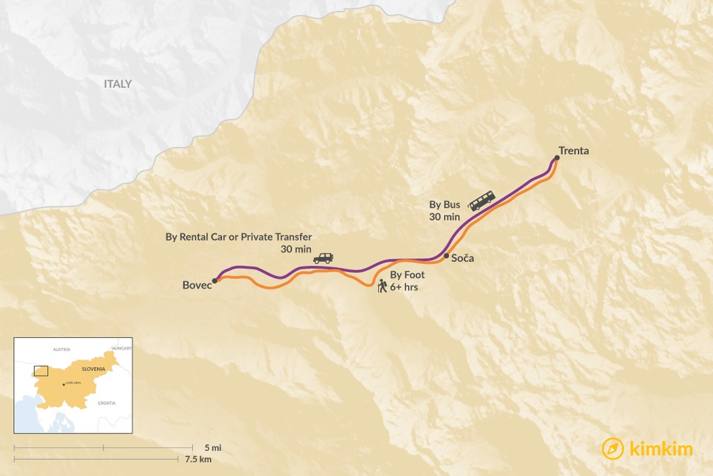 Map of How to Get from Trenta to Bovec