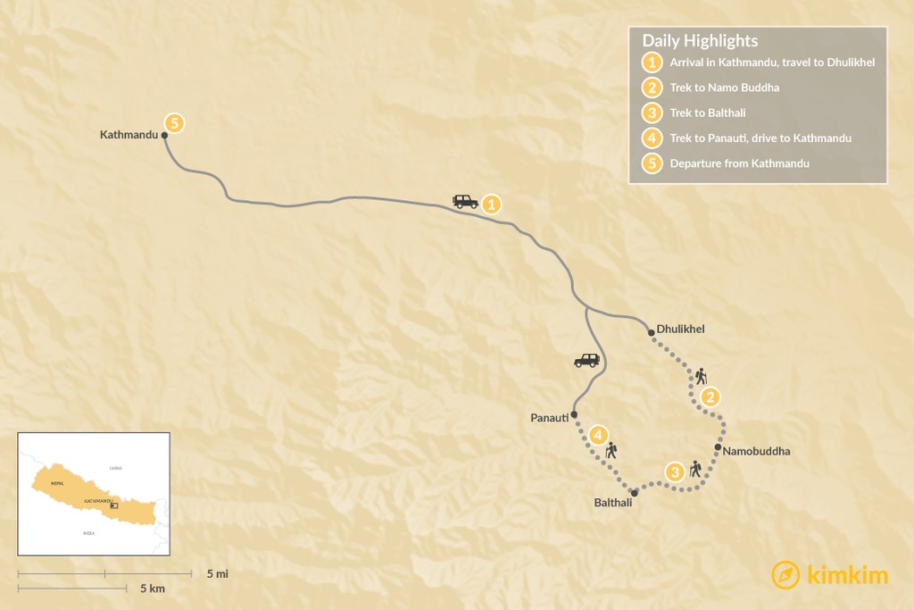 Map of Balthali Village Trek - 5 Days
