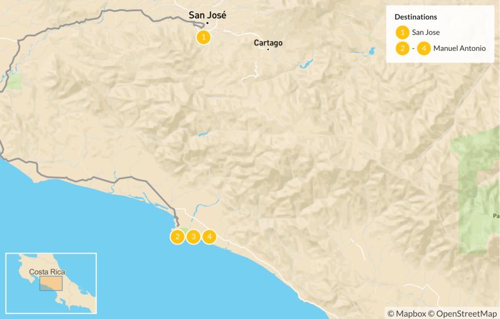 Map of San José and Manuel Antonio - 5 Days