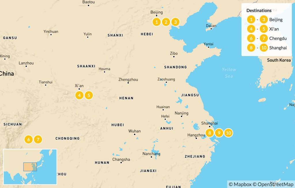 Map of Discover China's Highlights: Beijing, Xian, Chengdu, Shanghai - 11 Days