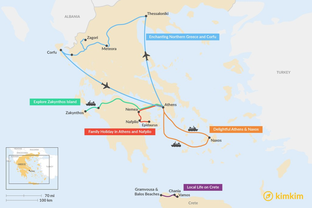 Map of 6 Days in Greece - 6 Unique Itinerary Ideas