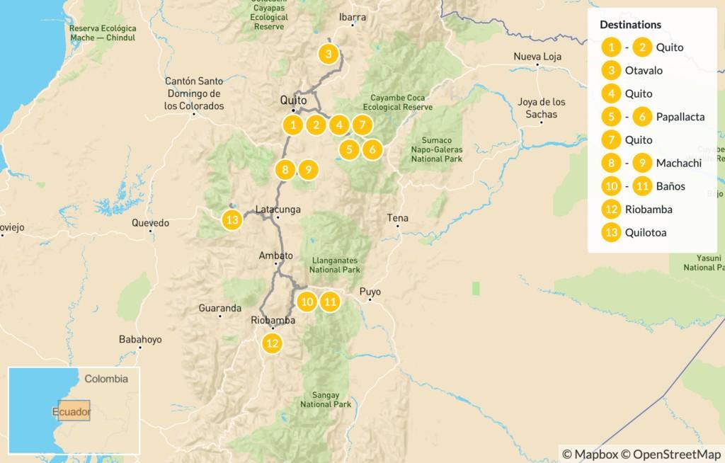 Map of Trekking in Ecuador's Highlands: Cotopaxi, Chimborazo, & More - 14 Days