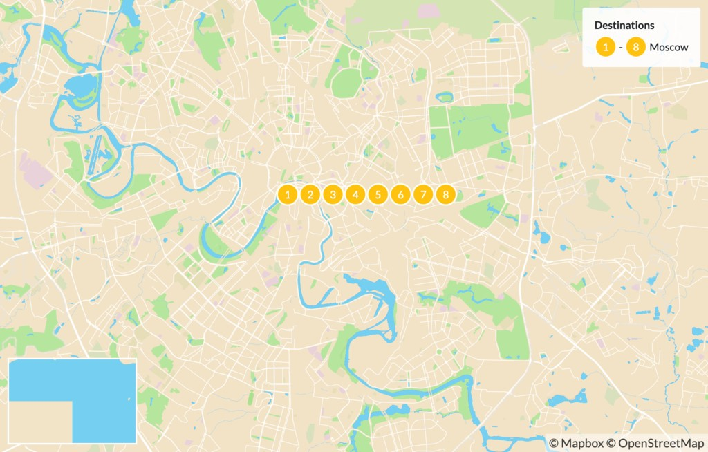 Map of Cultural Immersion in Moscow - 8 Days