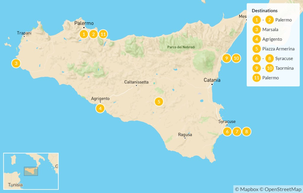 Map of Sicily Highlights Self-Drive Tour - 12 Days